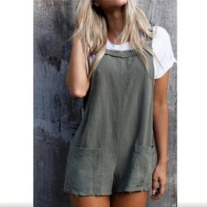 Hali Distressed Overall Shorts